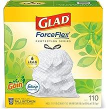 Glad ForceFlex Tall Kitchen Drawstring Trash Bags 13 Gallon White Trash Bag, Gain Original Scent with Febreze Freshness 11...