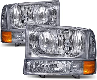 HEADLIGHTSDEPOT Chrome Headlight Park Signal Light Set Compatible with Ford Excursion F-250 F-350 F-450 F-550 Super Duty Excursion Includes Driver And Passenger Side Headlamps