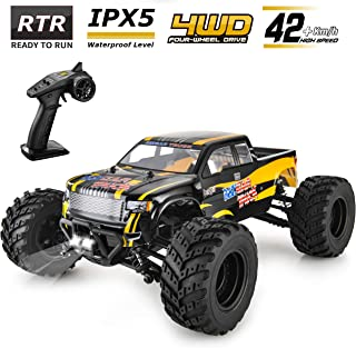 BEZGAR Hobbyist Grade 4x4 Waterproof RC Car, 1:12 Large Size Off Road Remote Control Fast Racing Hobby Car 45 Km/h High Speed Electric Monster Toy Vehicle Truck with Rechargeable Batteries for Adults