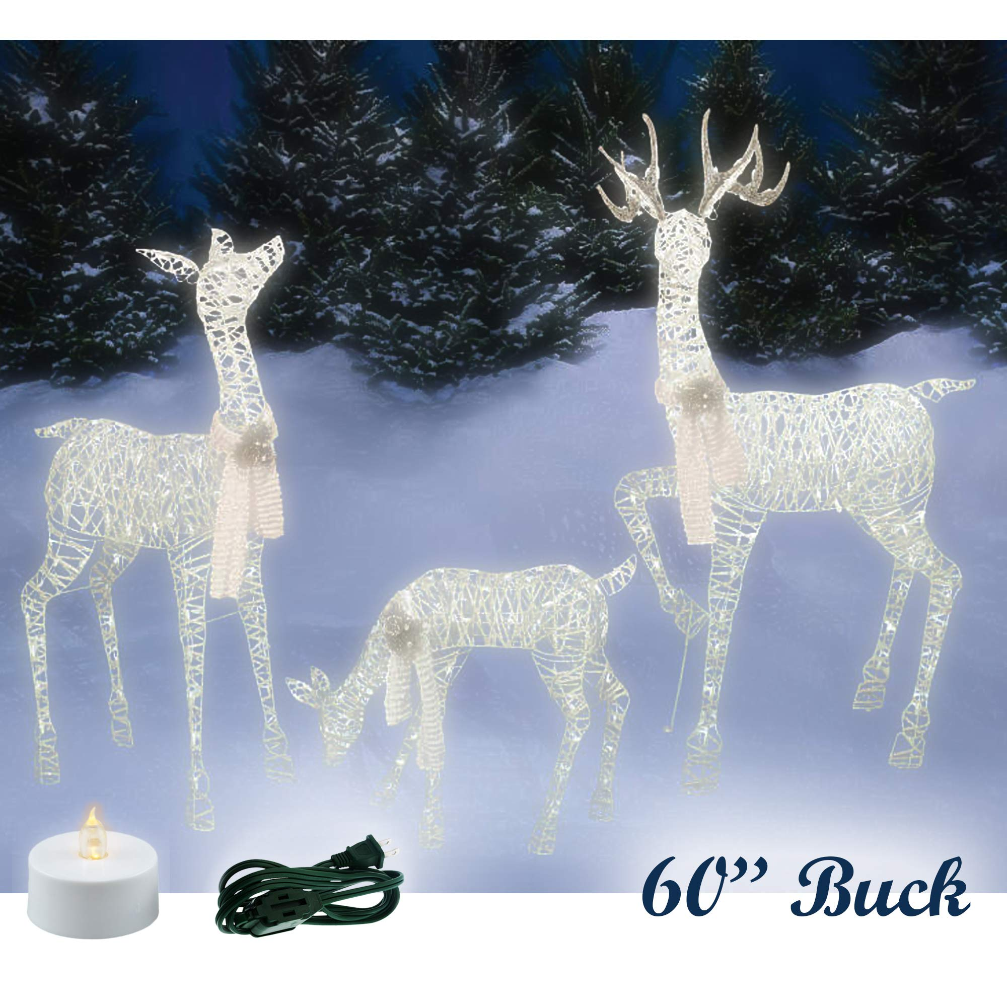 """Classy Yard Lighted 3 Deer Lawn Christmas Outdoor Decorations 60"""" Tall"""