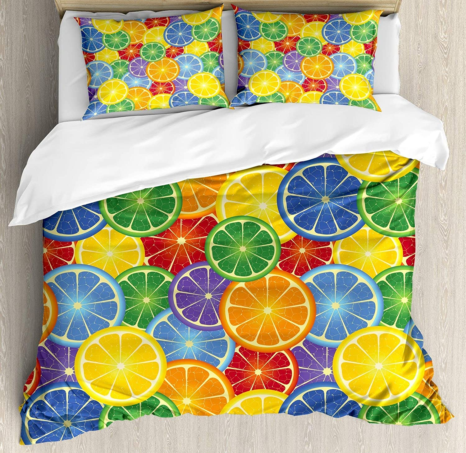 USOPHIA Abstract 4 Pieces Bed Sheets Set Twin Size, colorful Slices of orange Tropical Fruit Rainbow color Fun Artful Design Floral Duvet Cover Set, Yellow bluee Green