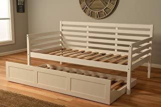 Cordova Futons Daybed Frame Twin Choice to add Trundle White Wood Finish Includes Solid Wooden Slats Lounger Best Futon Day Bed Sets (White, Twin Bed w/Slats and Trundle)