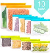 Wolfteeth Reusable Food Storage Bags Leakproof Organization Sets Freezer Bags Zip-lock Lunch Bag Groceries Sets for Home Office Travel 10 Pack (2 Gallon Bags + 4 Sandwich Bags + 4 Snack Bags) 502901