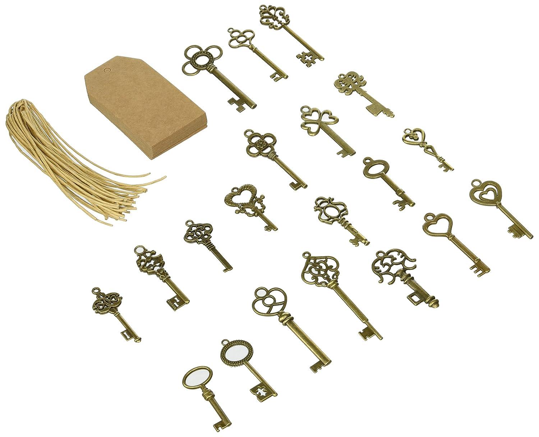 SL crafts Mixed Set of 20 Skeleton Keys & 20 pcs Kraft Tags Antiqued Brass Bronze Charms Pendants Wedding Favor 38mm-68mm