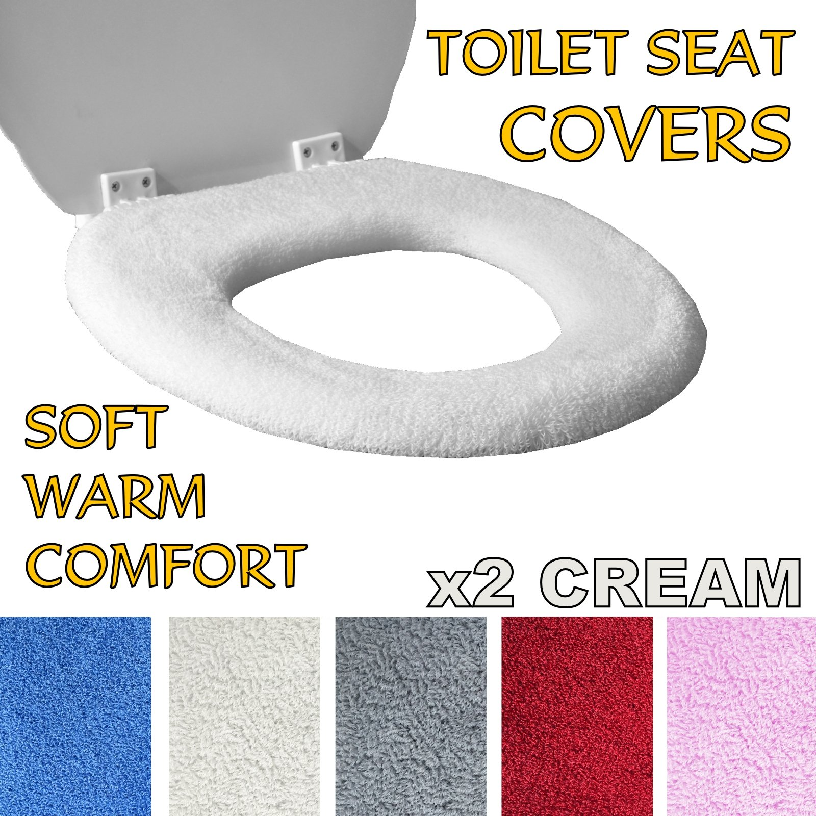 Toilet Seat Cover Mat With Soft /& Comfy//Soft Warm Fleece For Bathroom 2 Pack Blue