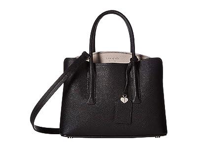 Kate Spade New York Margaux Medium Satchel (Black/Warm Taupe) Satchel Handbags
