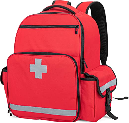 CURMIO Emergency Medical Backpack Empty, First Responder EMT Bag for EMS, Camping, Hiking, Home Health, Field Trips, Red (Bag Only, Patented Design)