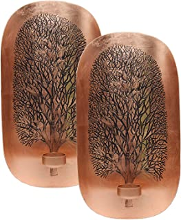 Decozen Wall Art T Light Holder with Tree of Life Design A Symbol of Growth and Strength in Copper Color Handcrafted by skilled Artisans Wall Décor Accents for Living Room Hallway Family Room Set of 2