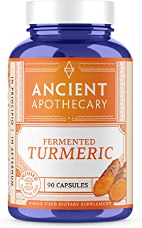 Ancient Apothecary Fermented Turmeric Supplement, 90 Capsules - Full-Spectrum Curcumin Infused with Organic Essential Oils...