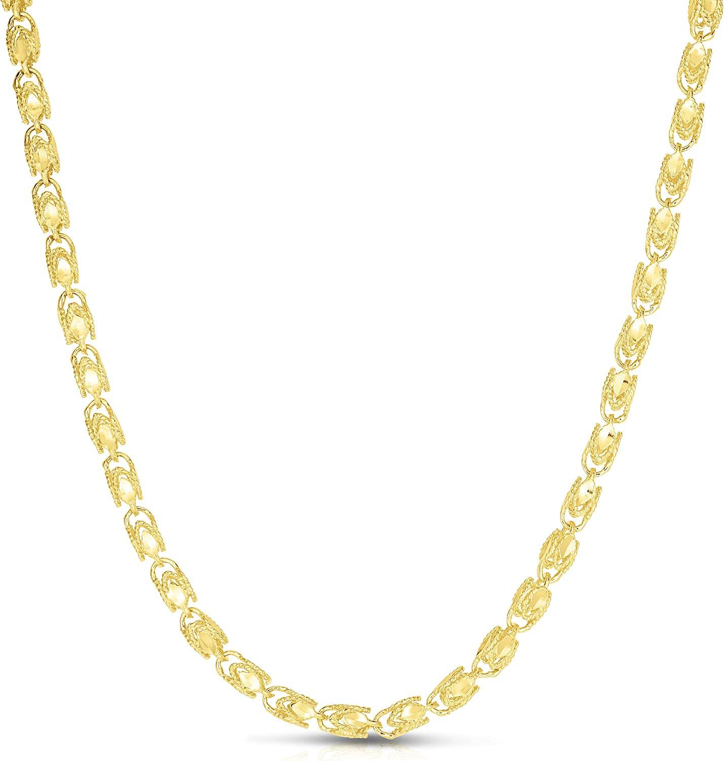 Floreo 10k Yellow Gold 5 ☆ very popular 3.5mm excellence Rope Necklace Solid Chain Turkish