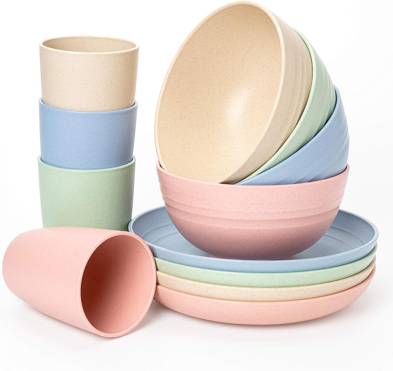 Euodia Wheat Straw Plastic Dinnerware Las Vegas Mall for 4 Dinner Plates Kansas City Mall Sets