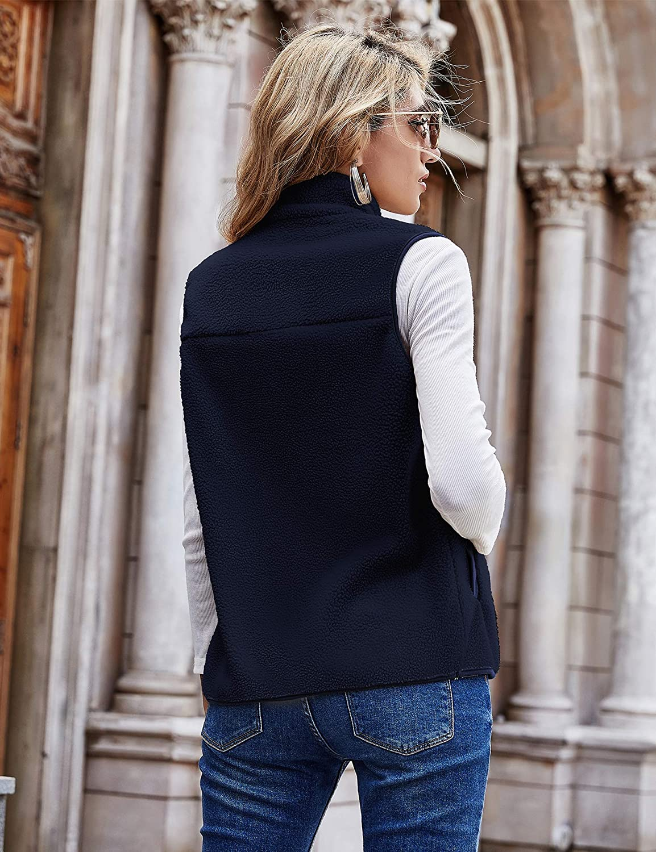 Romanstii Fleece Vest for Women Sleeveless Lightweight Soft Sherpa Vest with Pockets Zip Up Polar Fleece Jacket Outwear