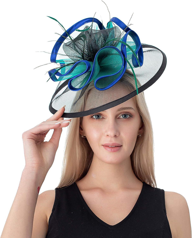 Fascinators Hats for Women Feather Tea Party Hat Kentucky Derby Wedding Church Bridal Headwear