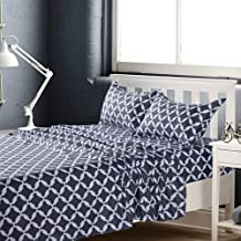 KFZ Full Bed Sheets Set –4Piece with 1 Fitted Sheet, 1 Flat Sheet, 2 Pillowcases –Hypoallergenic, Wrinkle & Fade Resistant Bedding Set–Grey Geometric Printed Bed Set