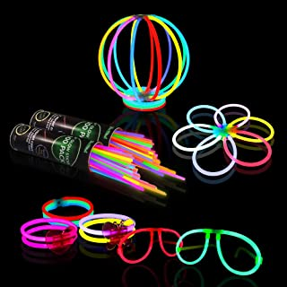 Glow Sticks Bulk Party Supplies – 458 Piece Glow in The Dark Fun Party Favors Pack for Kids/Adults with 200 Super Bright Glowsticks and Connectors for Bracelets, Necklaces, Glasses, Flower Balls
