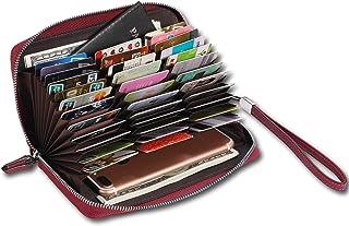 AINIMOER Women's 36 Slots Leather RFID Blocking Large Capacity Purse Zip Around Wallet Travel Clutch Purse Wristlet Strap