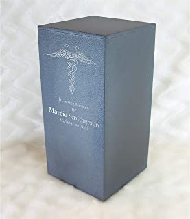 Personalized Engraved Nurse or Doctor Cremation Urn for Human Ashes -Made in America-Handcrafted in The USA by Amaranthine Urns- Eaton DL- Adult Funeral Urn-up to 200 lbs Living Weight (Slate Grey)