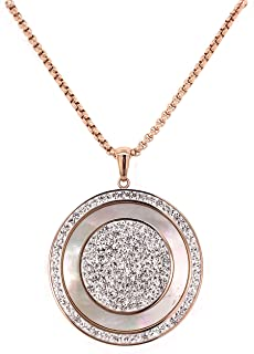 Bevilles Stainless Steel Rose Mother of Pearl Disc Necklace Pendant