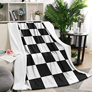 Dido Checkered Flag Flannel Fleece Blankets Ultra Soft Warm Winte Cabin Living Room/Bedroom Warm Lightweight Blanket 59