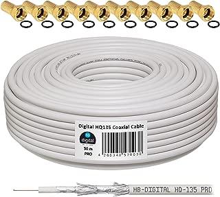 HB-Digital - Cable coaxial para DVB-S, S2 DVB-C y DVB-T(130 dB, HQ-135, Pro, apantallamiento cuádruple, BK, 10 Conectores F Dorados) 50m Hellgrau Weiss