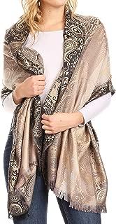 Sakkas Marga Women's Silky Soft Reversible Paisley Woven Pashmina Scarf Shawl Wrap