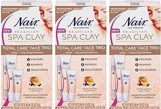 NAIR Hair Remover Brazilian SPA CLAY sensitive TOTAL CARE FACE TRIO Lot of 3