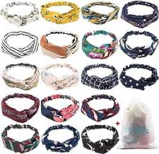 18 Pcs Boho Headbands for Women, EAONE Floral Bandeau Headbands Elastic Hair Bands Criss Cross Hair Wrap Hair Accessories with 1PC Pouch Bag