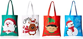 Bulk 24 Christmas Reusable Non-Woven Tote Gift or Shopping Bag Assortment - Large with long loop handles