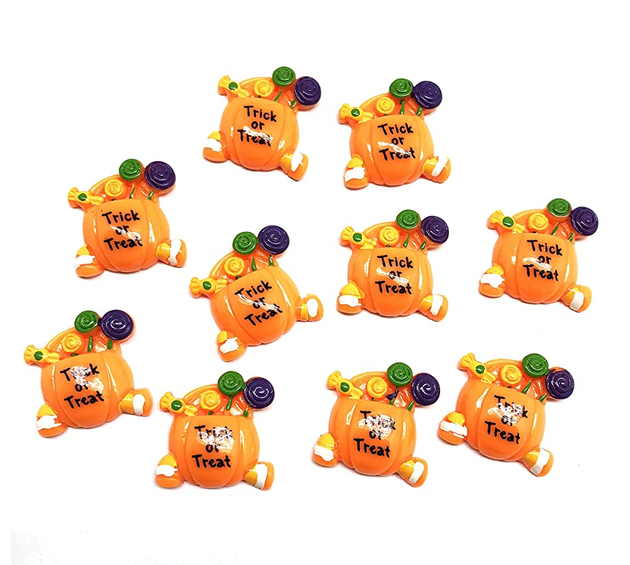 PEPPERLONELY 10PC Halloween Trick or Treat Pumpkin Candy Bag Basket Resin Flatback Cabochon DIY Flatback Scrapbooking Embellishment Decoration Craft Making, 27 x 27mm