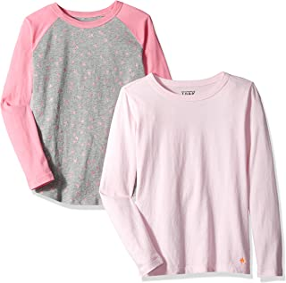 Amazon/ J. Crew Brand- LOOK by crewcuts Girls' 2-Pack Graphic/Solid Long Sleeve T-Shirt