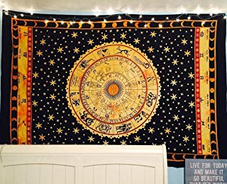 Jaipur Handloom Black Zodiac Tapestry Wall Hanging Horoscope Tapestry Dorm Room Tapestries Hippie Tapestry Indian Astrology Trippy Celtic Psychedelic Tapestry Wall Hanging