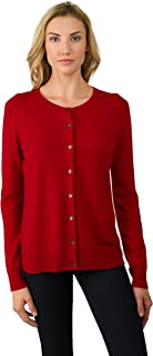 Women's 100% Cashmere Button Front Long Sleeve Crewneck Cardigan Sweater