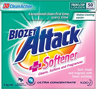 Biozet Attack Plus Softener Powder Detergent, 2 kilograms