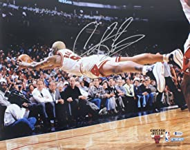 Bulls Dennis Rodman Authentic Signed 16x20 Horizontal Diving Photo BAS Witnessed