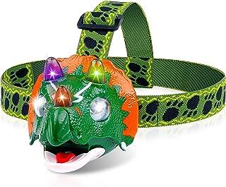 Triceratops LED Headlamp - Dinosaur Headlamp for Kids Camping Essentials | Dinosaur Toy Head Lamp Flashlight for Boys Girl...