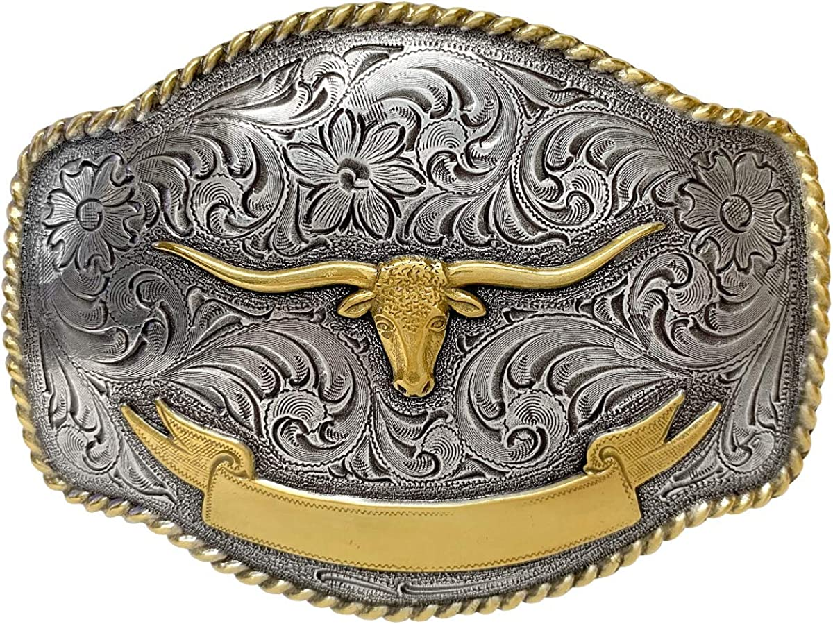 Longhorn Steer Head Western Rope Super beauty product Spring new work restock quality top Silve Buckle Sterling Belt with
