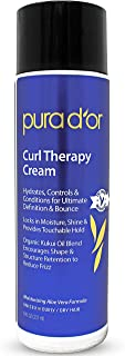 PURA D'OR Curl Therapy Leave-In Styling Cream for Curly, Wavy or Frizzy Hair, Hydrates & Conditions, Gentle Sulfate Free Formula Infused with Natural Ingredients, Men & Women, 8 Fl Oz