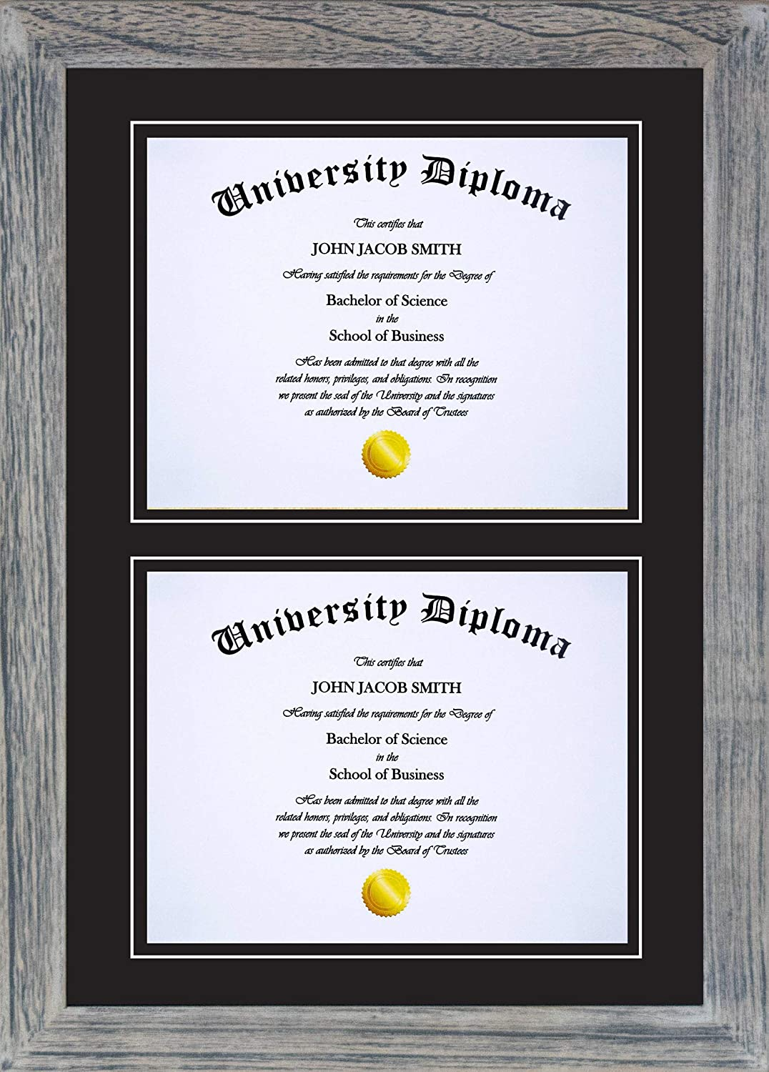 CroftLux Double Diploma Fees free Frame Distressed with Limited Special Price f Wood Mat