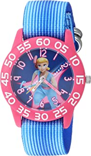 ساعة أنالوج للبنات من ديزني توي ستوري 4 - كوارتز مع حزام من النايلون، ازرق، 16 موديل WDS000702