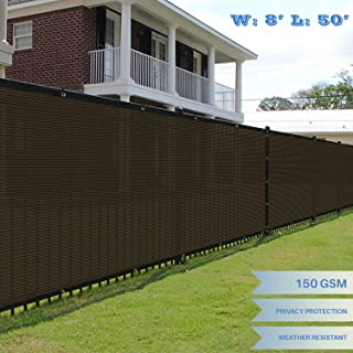 E&K Sunrise 8' x 50' Brown Fence Privacy Screen, Commercial Outdoor Backyard Shade Windscreen Mesh Fabric 3 Years Warranty (Customized Set of 1