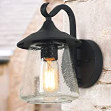 LOG BARN Outdoor Wall Light,Farmhouse Exterior Lantern in Black with Seeded Glass for..