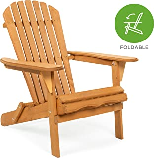 Best Choice Products Folding Wooden Adirondack Lounger Chair Accent Furniture w/Natural..