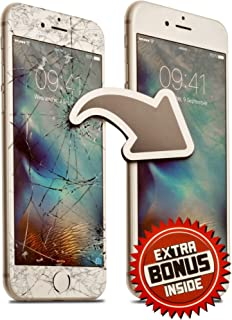 Screen Repair Complete Tool Kit Replacement Parts For iPhone 7 Plus White Front Glass Lens - Full Step By Step Instructions Video - EXTRA Bonuses: Charging Cable AND Protector Case (exclude digitizer)