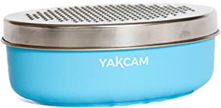 Yakcam Cheese Vegetable Grater with Storage Container and Lid, Course and Fine 4 Piece Blue