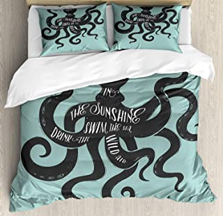 Juego de Funda nórdica Octopus 3 PCS, Live in The Sunshine Swim The Sea Drink The Wild Air Graphic Graphic, Juego de Cama Colcha para niños/Adolescentes/Adultos/niños, Gris carbón Turquesa Twin