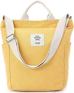 Yidarton Damen Umhängetaschen groß Tasche Casual Handtasche Canvas Chic Damen Schultertasche Henkeltasche für Schule Shopping Arbeit Einkauf Gelb