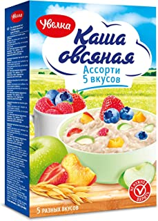 Uvelka Instant Oatmeal Variety of 5 Flavors (Kasha Ovsyanka) - 5x40g Packets/7.05oz, Pack of 1