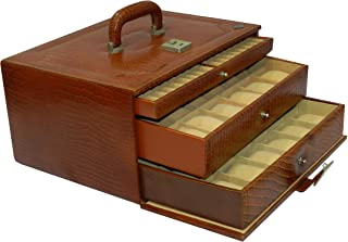 Laveri Genuine Leather 36 Watches With Pen And Ring Cufflink Box