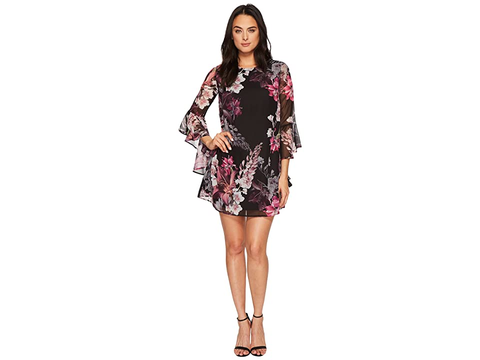 CeCe Ashley Bell Sleeve Blooms Dress (Rich Black) Women