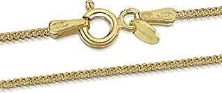 Amberta 18K Gold Plated on 925 Sterling Silver 1.3 mm Curb Chain Necklace